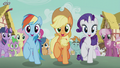 Rainbow, Applejack, and Rarity join the parade S5E18.png