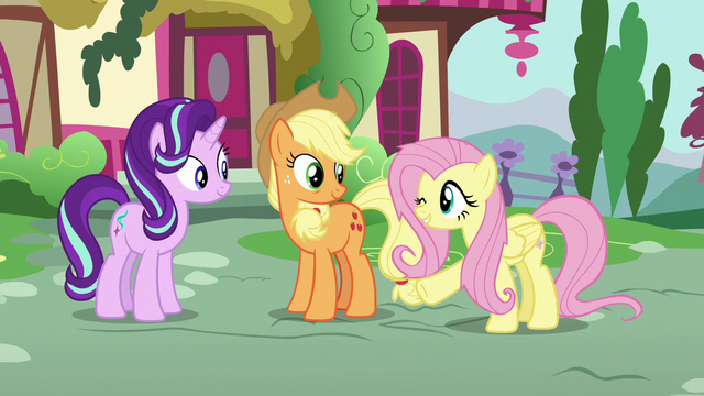 File:Fluttershy winking at Starlight Glimmer S6E21.png