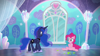 Pinkie Pie falls back onto the floor S6E1