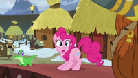 Pinkie Pie looking overjoyed at Prince Rutherford S7E11