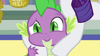 Spike being held by Rarity S3E2