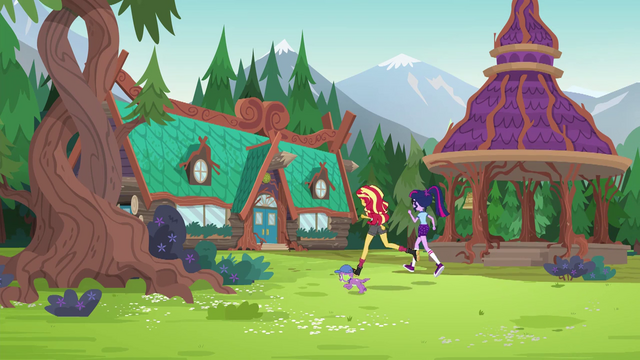 File:Twilight, Sunset, and Spike run to the mess hall EG4.png