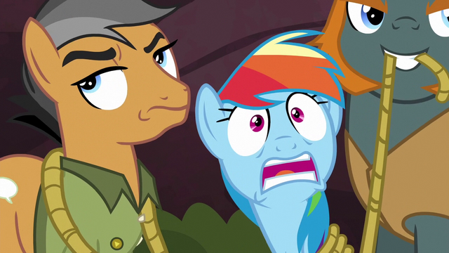 File:Rainbow scared; Quibble rolls his eyes again S6E13.png