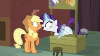 Rarity presses her muzzle against Applejack's S5E16