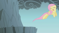 Fluttershy jumping over gap with eyes closed S1E7
