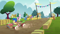 Apple Bloom speeding down the track S6E14