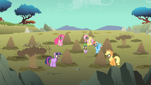 File:Main ponies mud on face S01E19.png