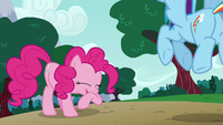 Pinkie Pie giggling at Dash's pranks S6E15