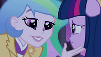 Principal Celestia hand on Twilight's chin EG