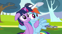Rainbow Dash hugs Twilight Sparkle S02E22