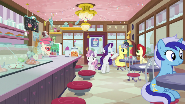 File:Rarity and Sweetie Belle arrive at the ice cream shop S7E6.png