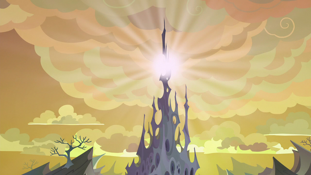 File:Top of changeling hive releasing white light S6E26.png