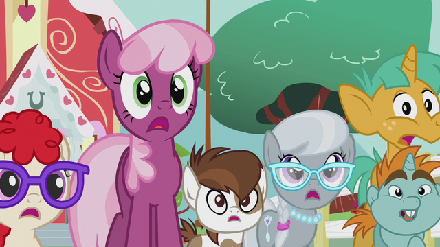 File:Cheerilee and foals surprised by Diamond Tiara S5E18.png