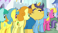 Ponies lined up at Wonderbolts autograph signing S7E7.png