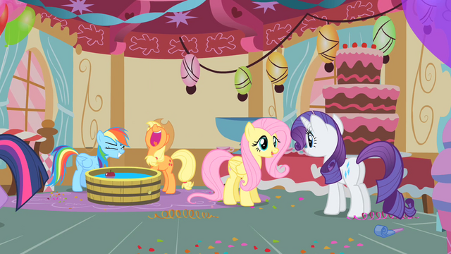File:The ponies enjoying the party S1E25.png