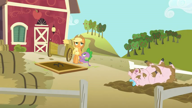 File:Applejack, Spike, and muddy pig S03E09.png