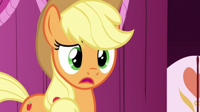 "File:Applejack ""no idea what you're talkin' about"" S7E9.png"