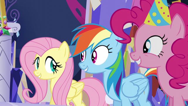 File:Fluttershy, Dash, and Pinkie in agreement S5E3.png