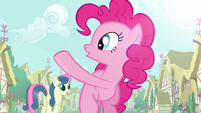 Pinkie Pie waves to Sweetie Drops S2E18