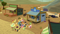 Ponies congregate outside sheriff's office S5E6.png