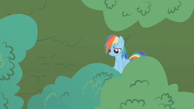 File:Rainbow Dash hiding in the tree S1E05.png