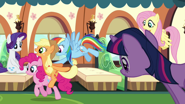 File:Rainbow Dash pushes Applejack and Pinkie Pie S3E12.png