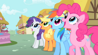 Rarity, Applejack, Rainbow, and Pinkie gasp at Philomena's renewal S01E22