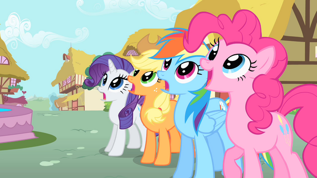 File:Rarity, Applejack, Rainbow, and Pinkie gasp at Philomena's renewal S01E22.png