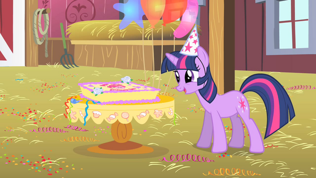 File:Twilight looks at Pinkie's birthday cake S1E25.png