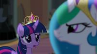 Twilight noticing Celestia's stern expression S4E02