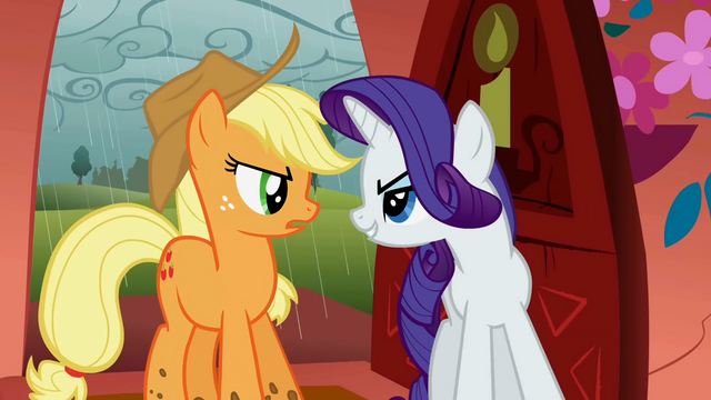 File:Applejack and Rarity arguing S01E08.png