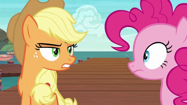 File:Applejack glaring at Pinkie Pie S6E22.png