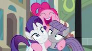 Pinkie Pie hugs Rarity and Maud S6E3
