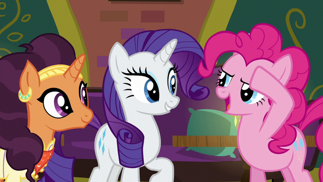 File:Pinkie Pie saluting to Rarity S6E12.png