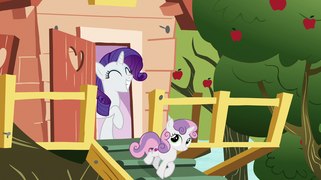 File:Rarity and Sweetie Belle leaving the clubhouse S7E6.png