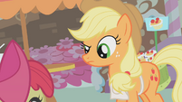 Applejack looks at Apple Bloom S1E12