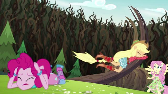 File:Applejack wrestling with the bramble vines EG4.png