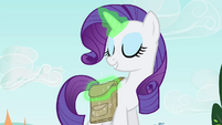 Rarity keeps the book in her saddlebag S4E23