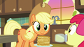 Applejack looking at jar of pear jam S7E13.png