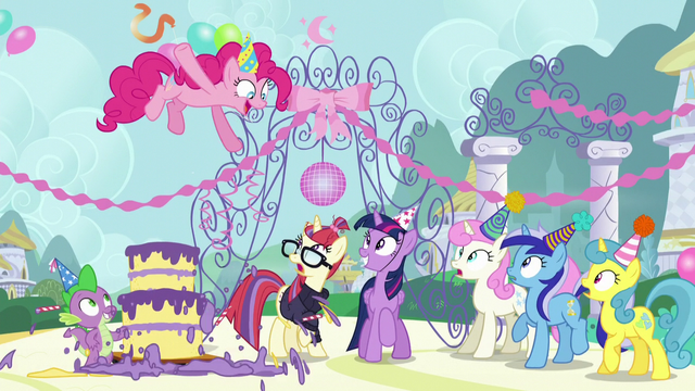 File:Pinkie Pie pops out of the cake S5E12.png