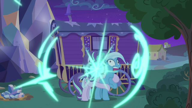 File:Starlight and Trixie teleport back to Trixie's wagon S6E25.png