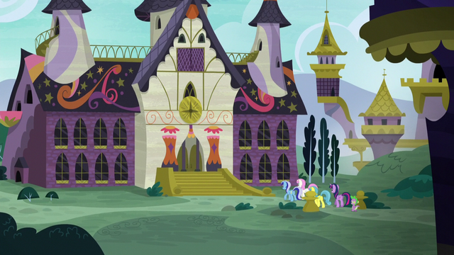 File:Twilight and company approach the School for Gifted Unicorns S5E12.png