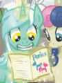 Comic issue 20 cover RE Lyra reading Ponies.png