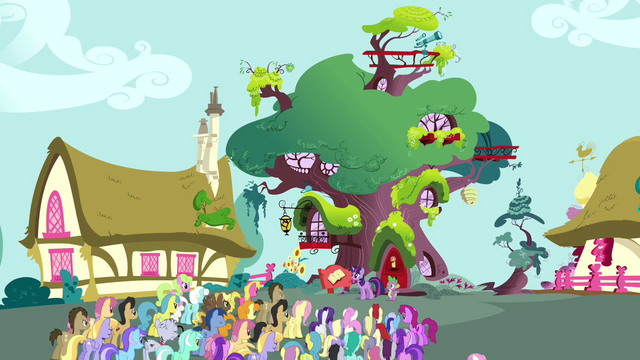 File:Crowd of ponies in front of Twilight's library S3E03.png