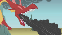 Dragon breathing stream of smoke S1E07