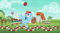 Rainbow runs the buckball obstacle course S6E18