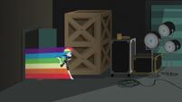 Rainbow speeds into the studio storage area EGS2