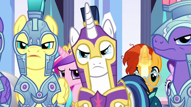 File:Shining Armor and royal guards unconvinced S6E16.png