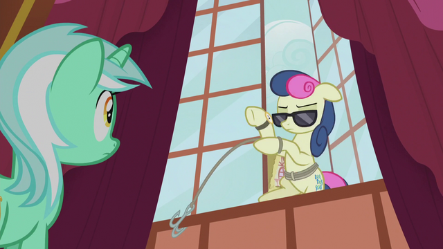 File:Sweetie Drops rappels out the window S5E9.png