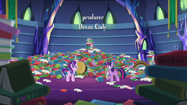 File:Twilight, Spike, and Starlight in messy library S6E21.png
